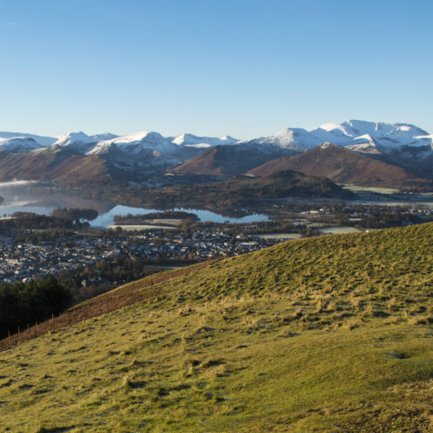Snowy mountains surrounding Derwent Water and Keswick / Portinscale